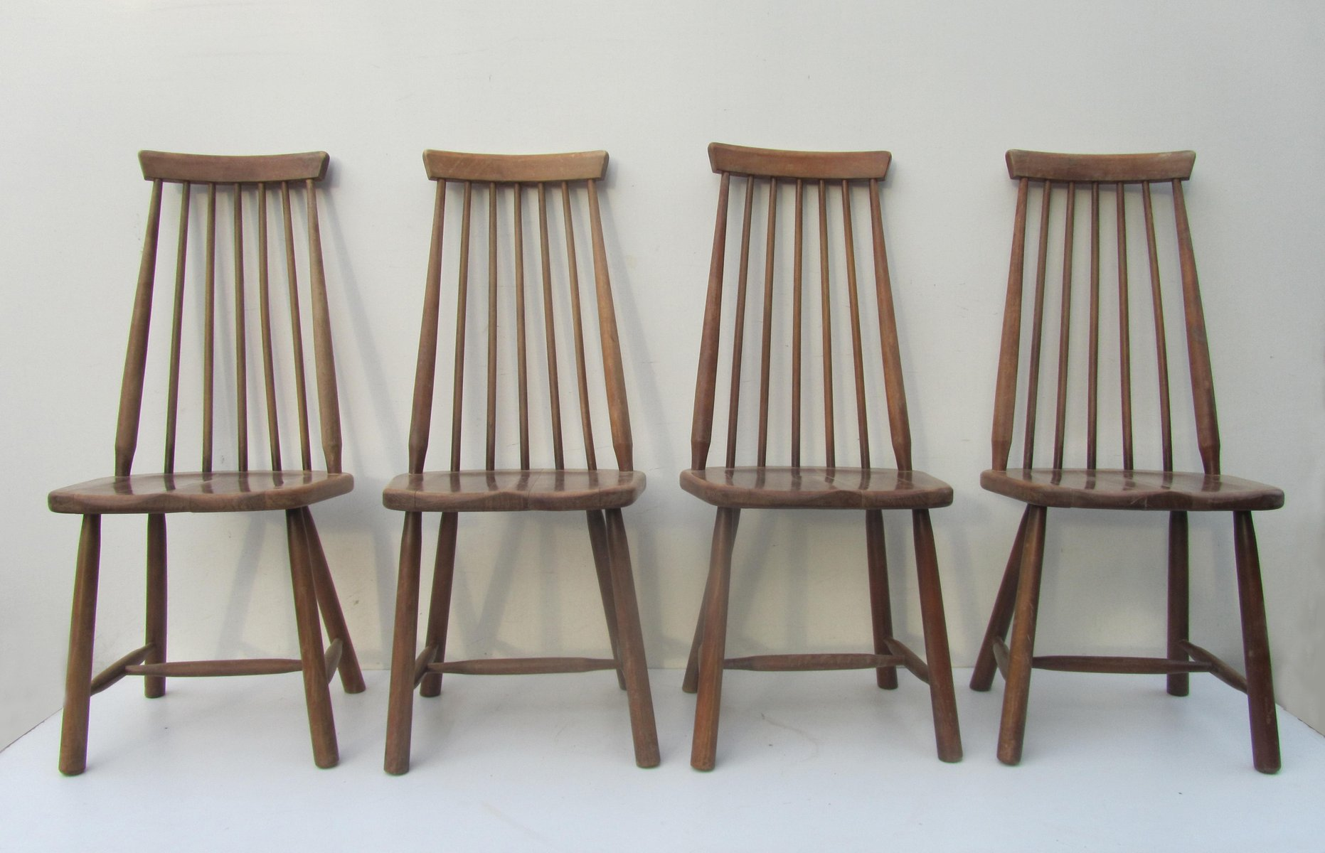 Mid Century Swedish High Back Spindle Chairs, Set Of 4