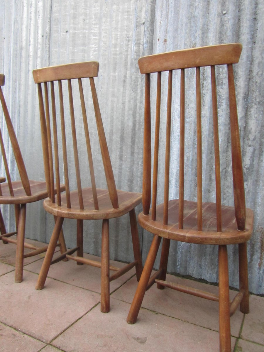 schwedische mid century st hle mit hoher lehne 4er set bei pamono kaufen. Black Bedroom Furniture Sets. Home Design Ideas