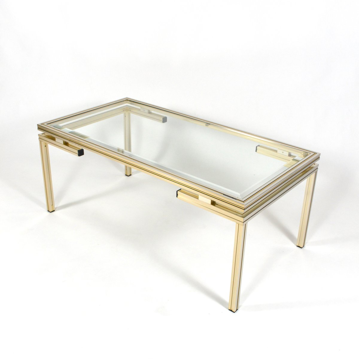 French Silver And Gold Coffee Table By Pierre Vandel