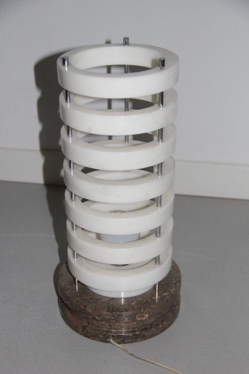 Ring Tischlampe mit Marmor Sockel, 1960er