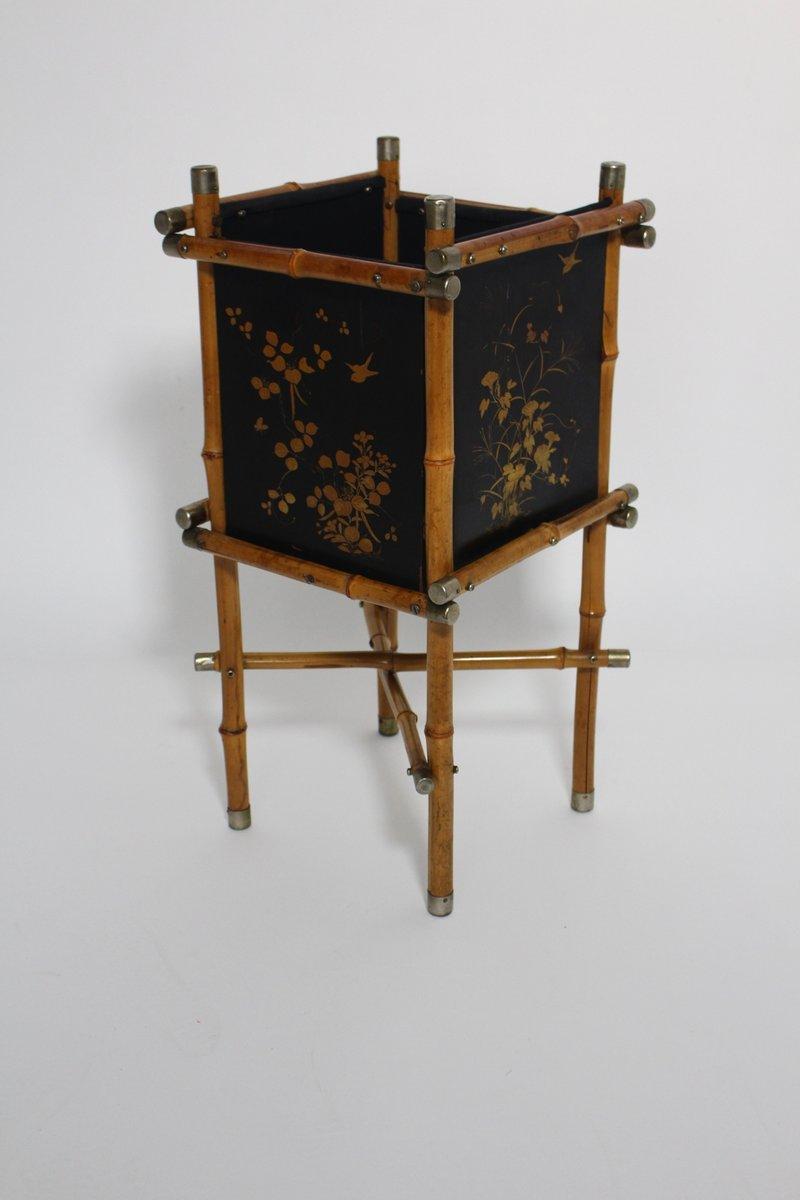 Art Deco Papierkorb oder Schirmständer aus Bamb...