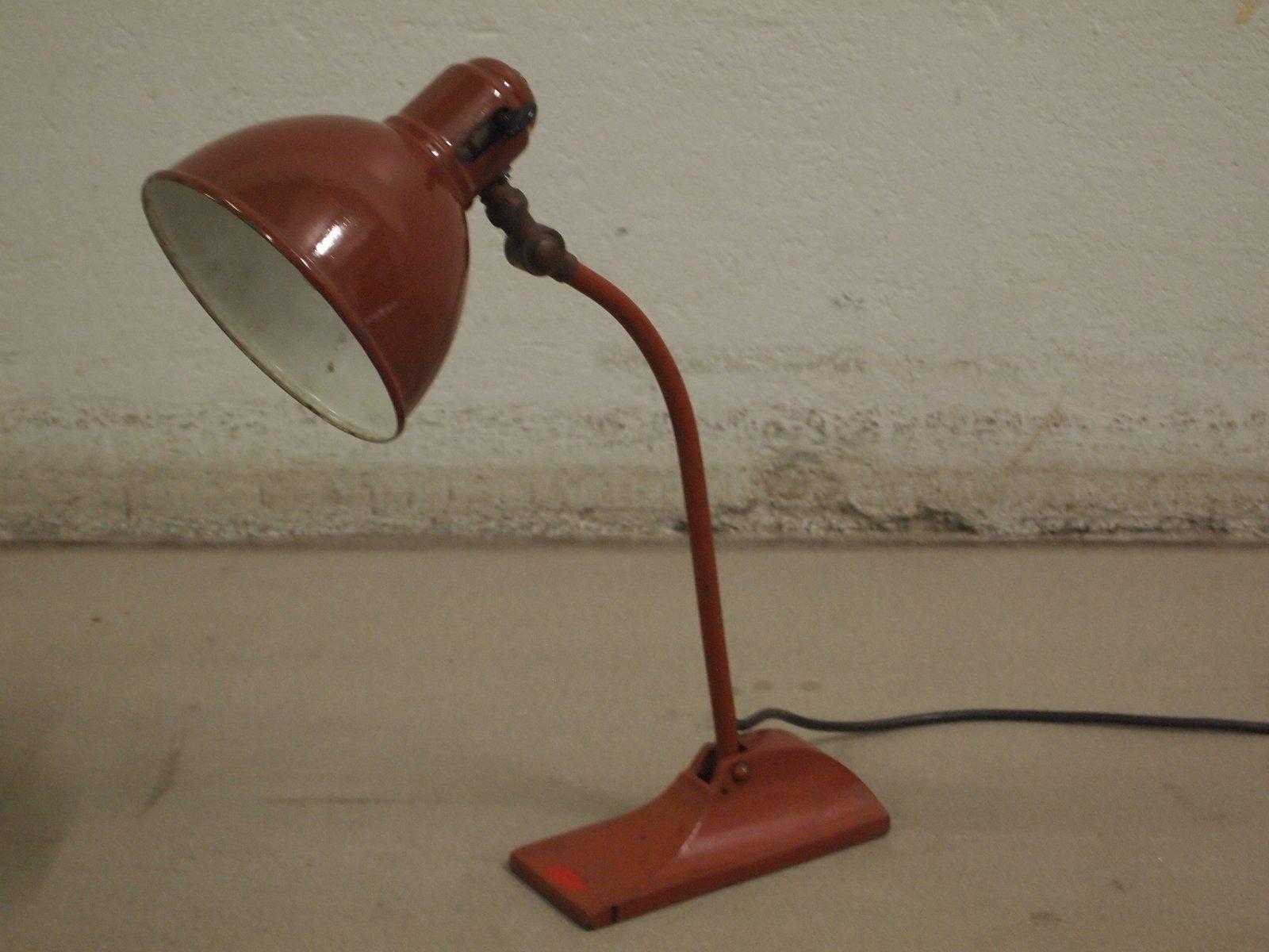 Burgunderfarbene Tischlampe von BAG Turgi, 1930er