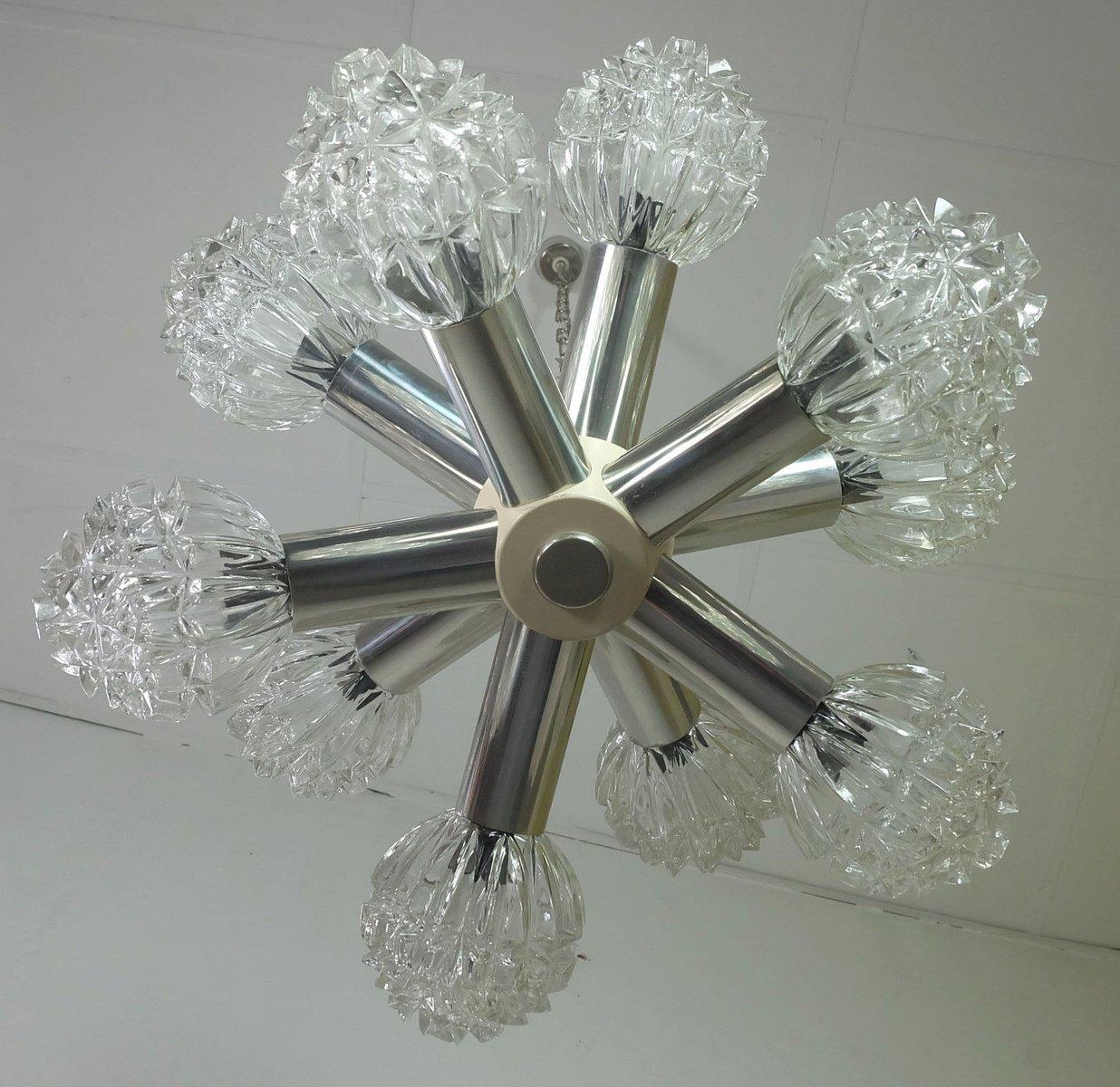 Metall & Glas Sputnik Lampe von VEB Wohnraumleuchten Erlangen, 1960er