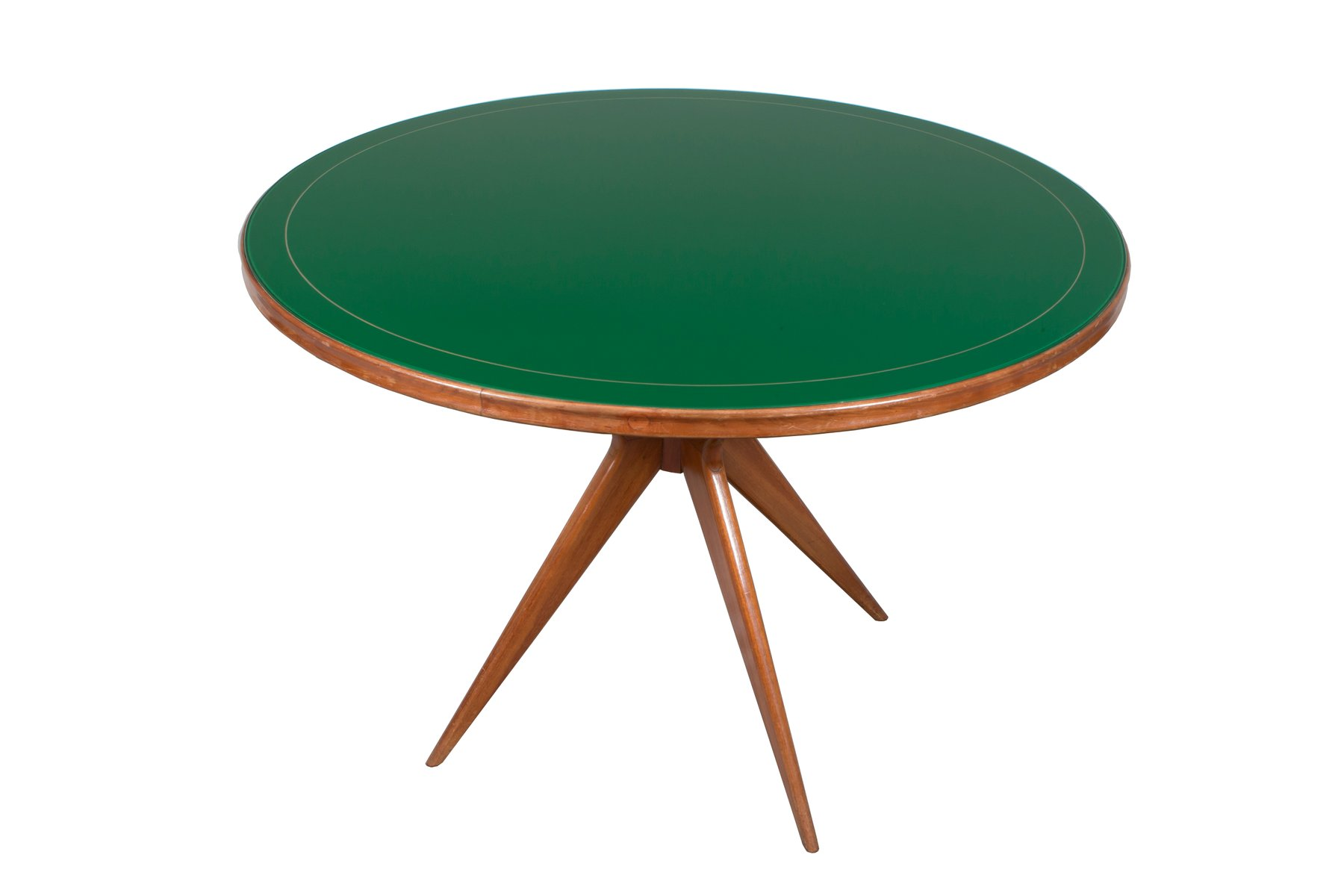 Italian Green Glass Round Table, 1950s
