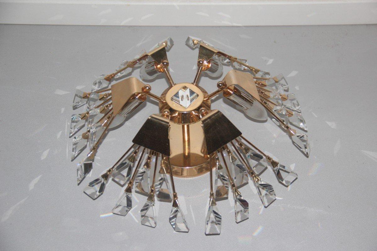 Deckenlampe aus Kristall & Messing von Gaetano Sciolari, 1970er