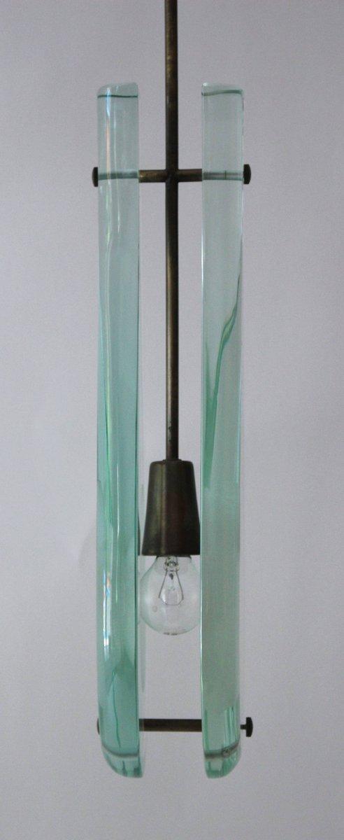 Italienische Hängelampe aus Kristall & Messing von Max Ingrand für For...