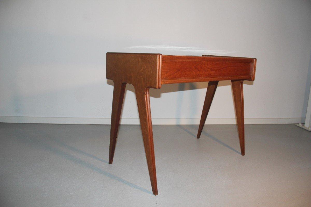 italienischer mid century schreibtisch mit wei er oberfl che 1950er bei pamono kaufen. Black Bedroom Furniture Sets. Home Design Ideas