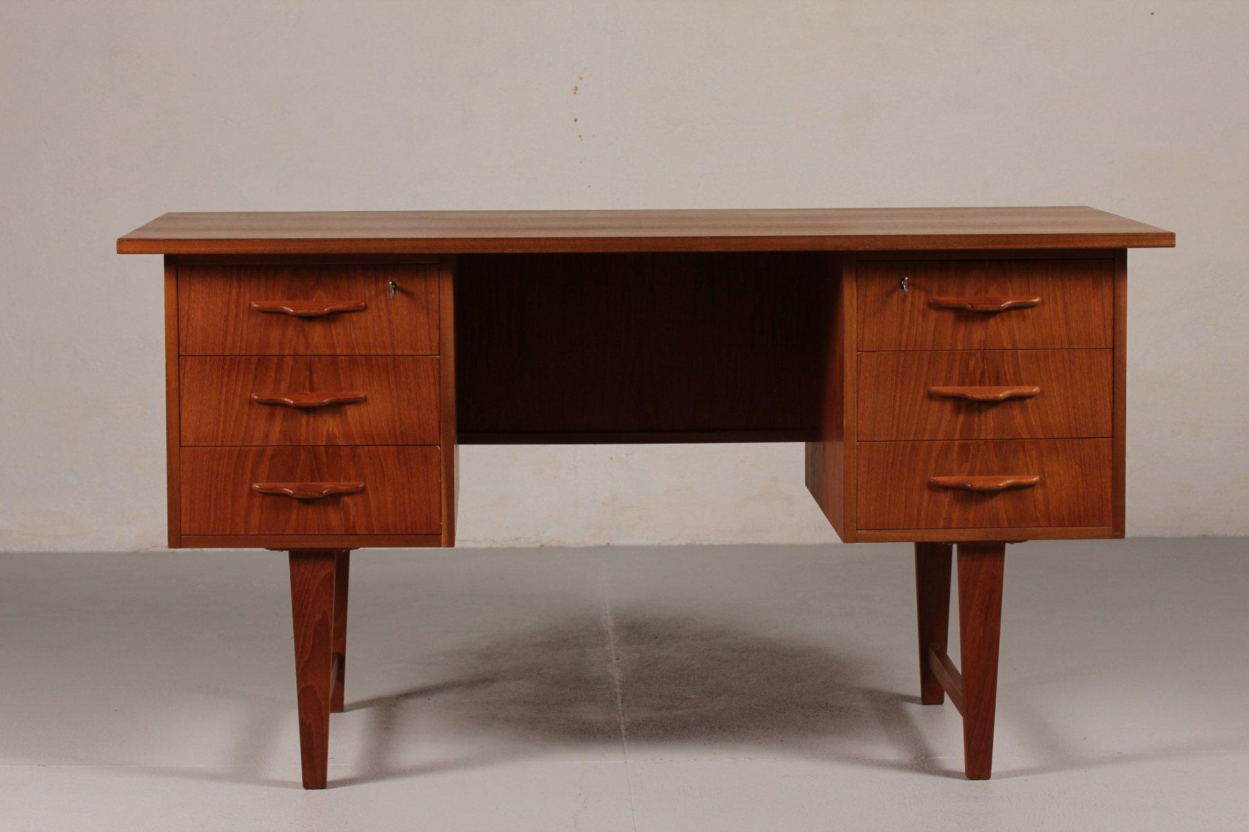 Danish Mid Century Teak Desk With Six Drawers 1960s For