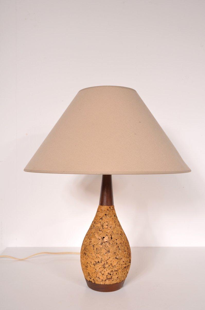 Kork und Stoff Tischlampe, 1970er