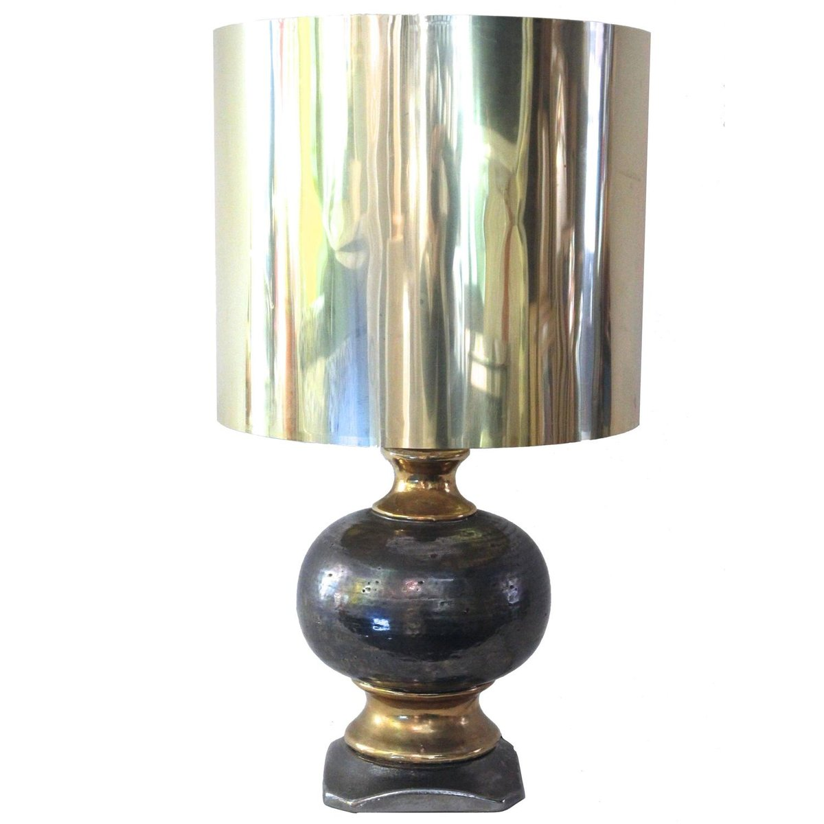 Tischlampe aus Keramik & Blattsilber, 1970er
