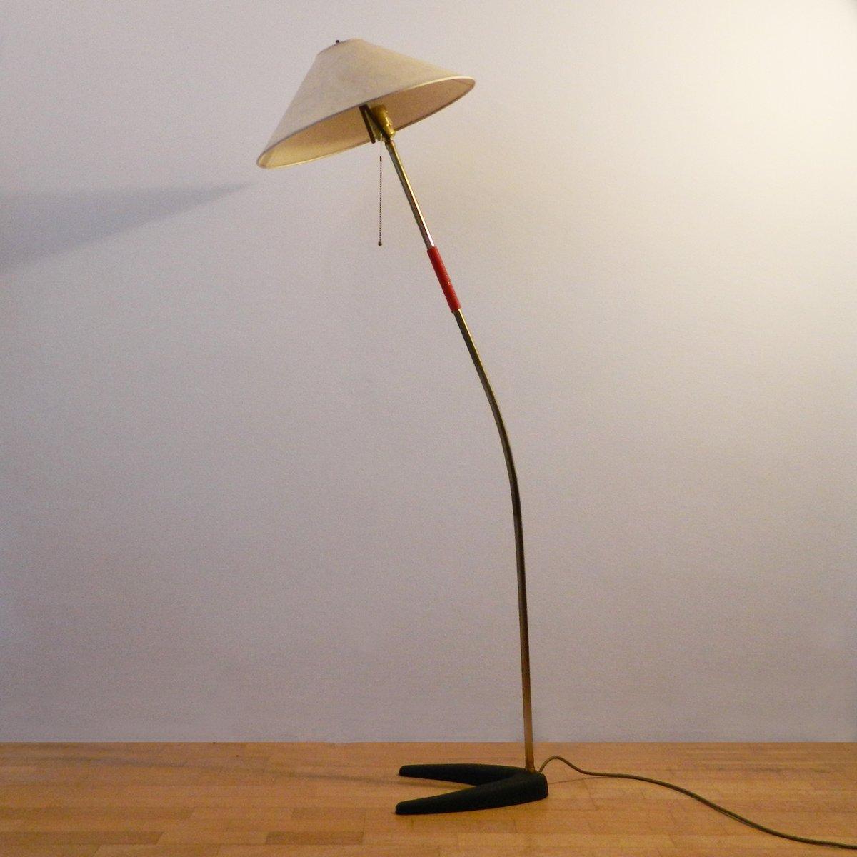 Stehlampe aus Messing & Gusseisen von J.T. Kalmar für Kalmar