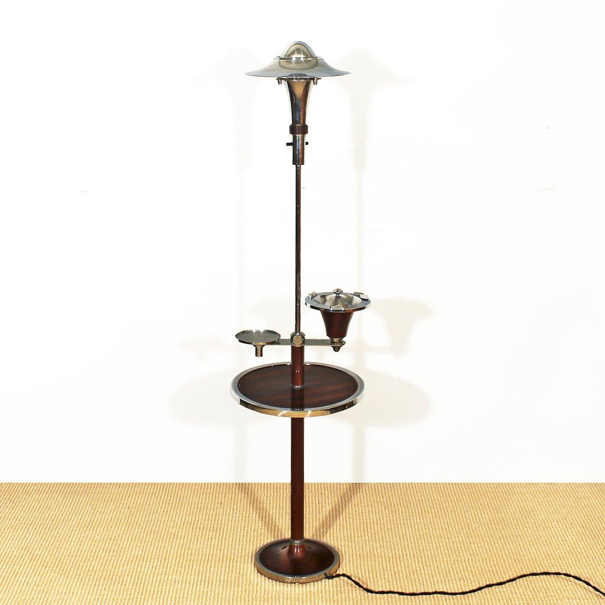 Französische Art Deco Stehlampe mit Aschenbecher, 1930er