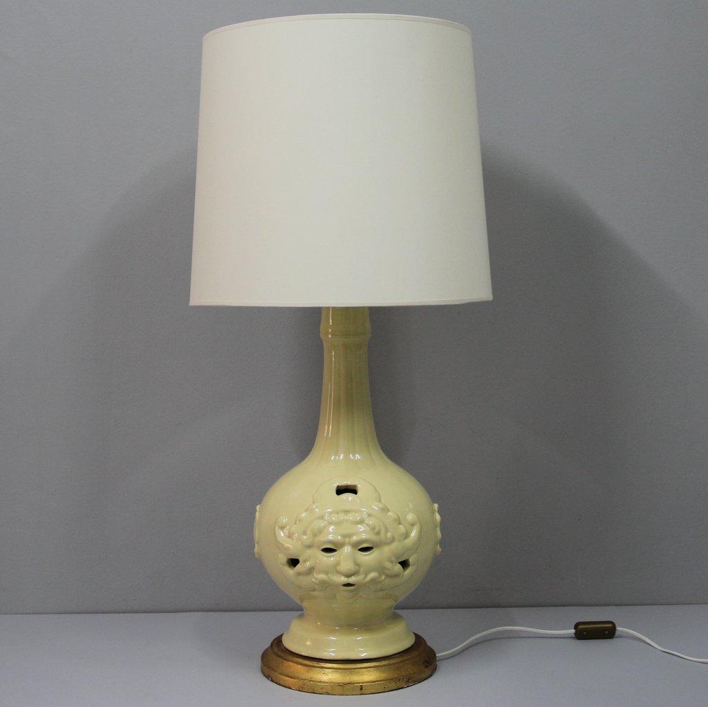 Große Spanische Vintage Manises Keramik Tischlampe