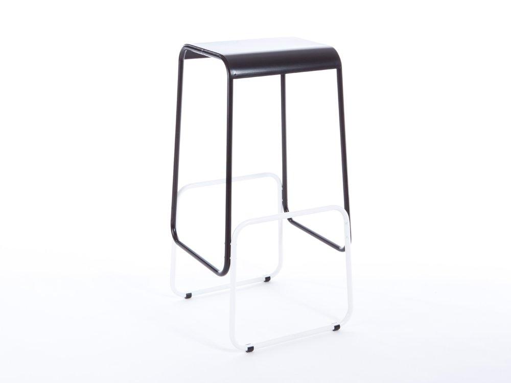 Sgabello da bar profilini con seduta nera e base bianca di gilli