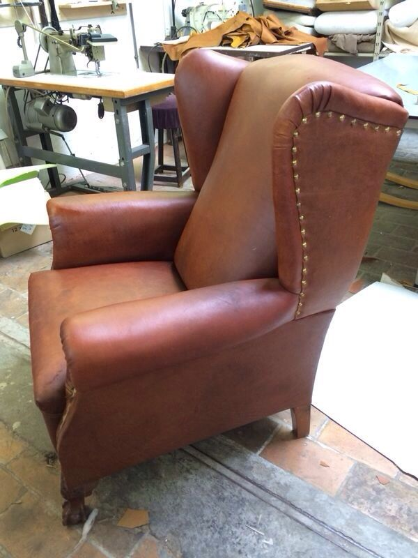 Neo Gothic Leather Wingback Chair 1930s For Sale At Pamono