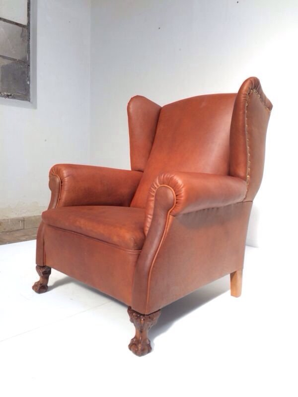 Neo Gothic Leather Wingback Chair, 1930s
