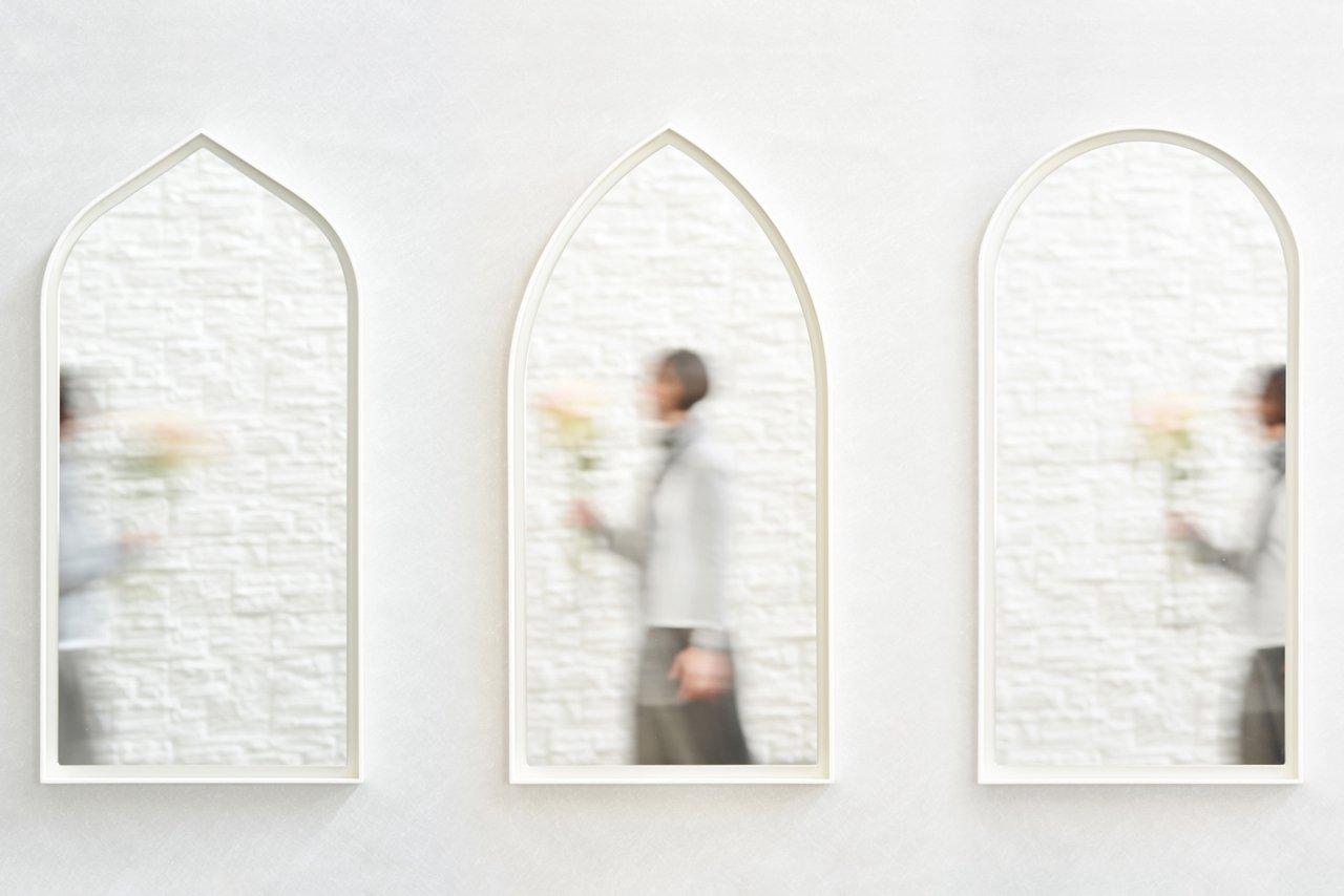 specchio panorami gotico bianco di enrica cavarzan set di