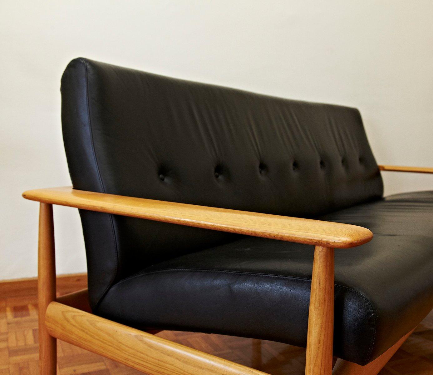 Scandinavian Leather Sofa 1950s