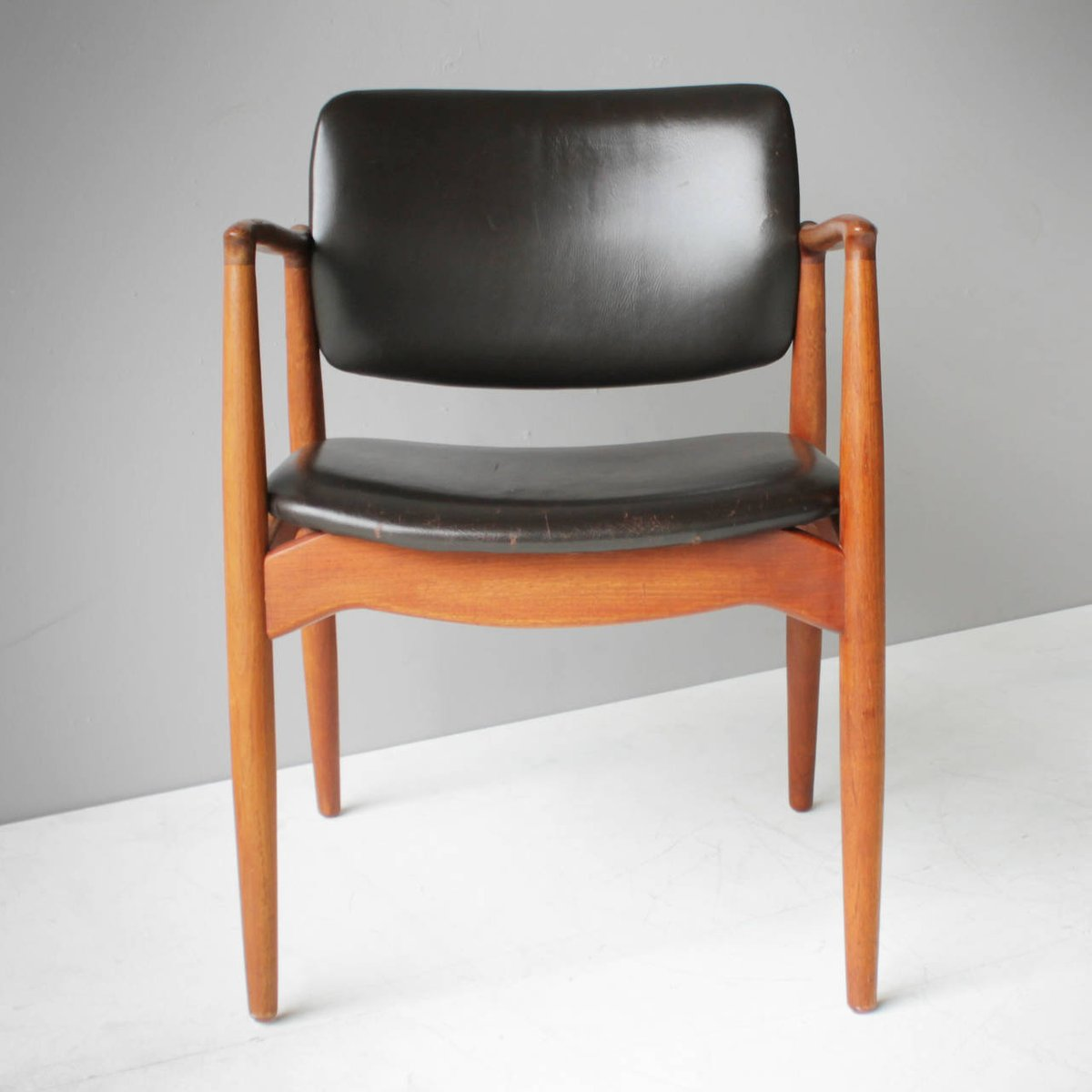 Teak And Leather Captainu0027s Chair By Eric Buck For Ø. Mobler, 1955