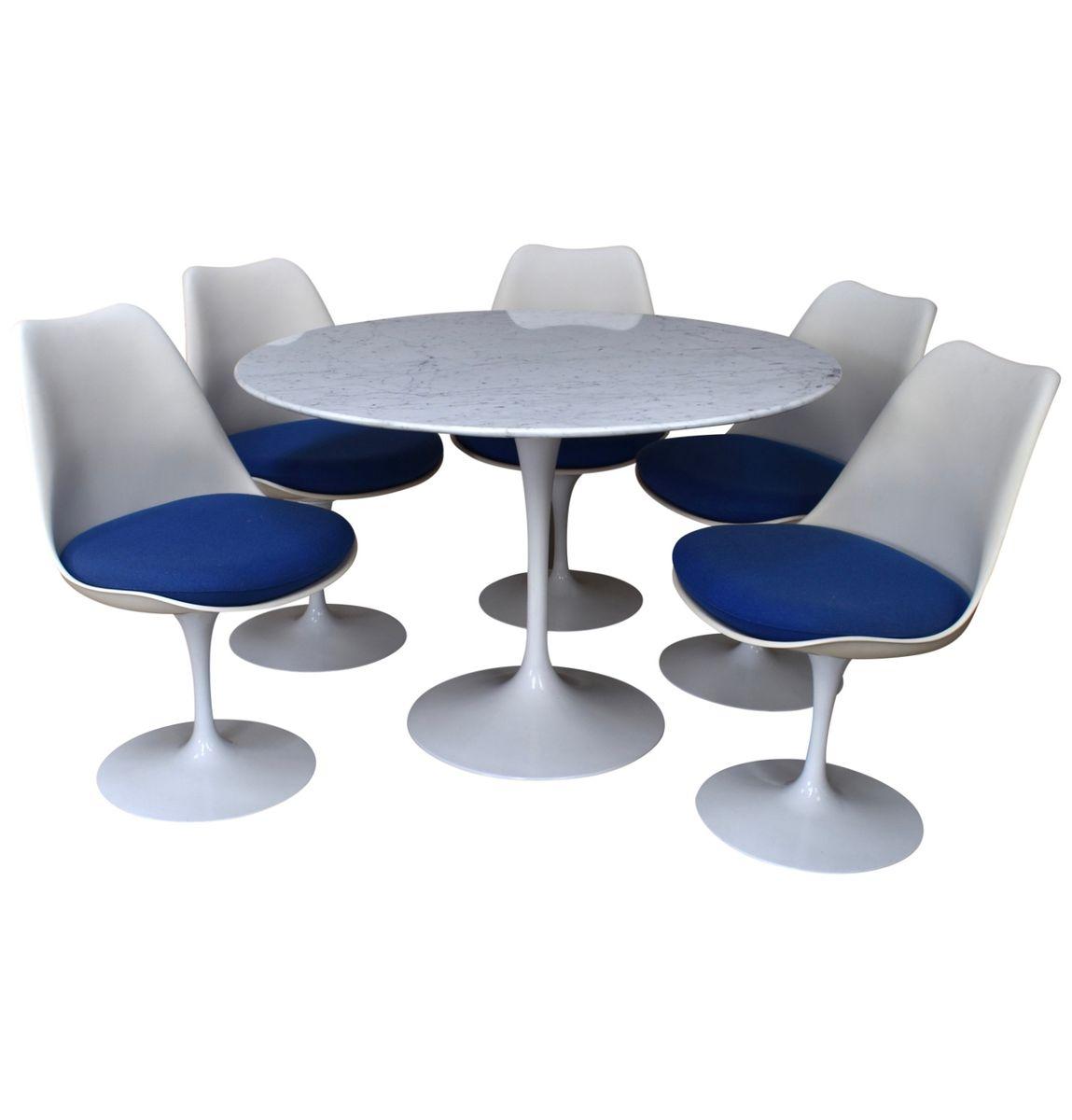 Vintage Esszimmer Set mit rundem Marmor Tisch von Saarinen für Knoll