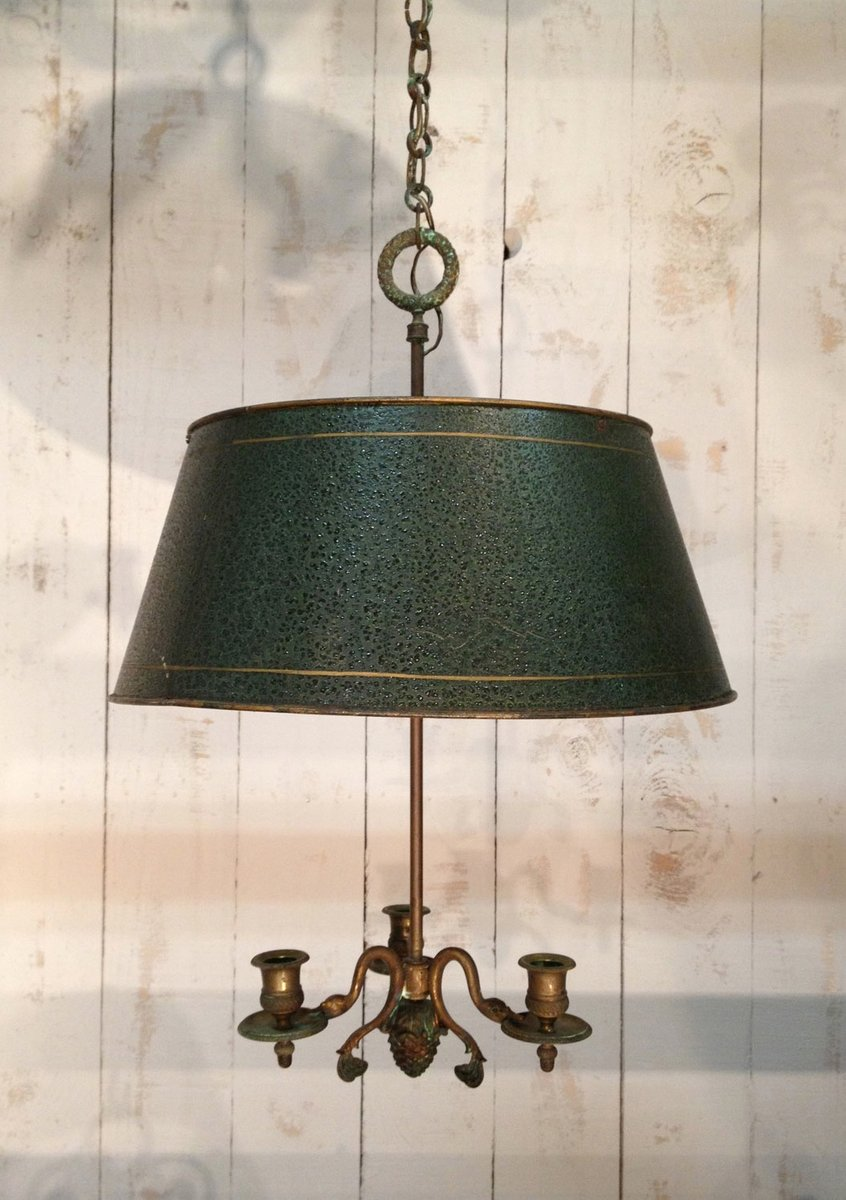 French Bronze & Tole Chandelier - French Bronze & Tole Chandelier For Sale At Pamono