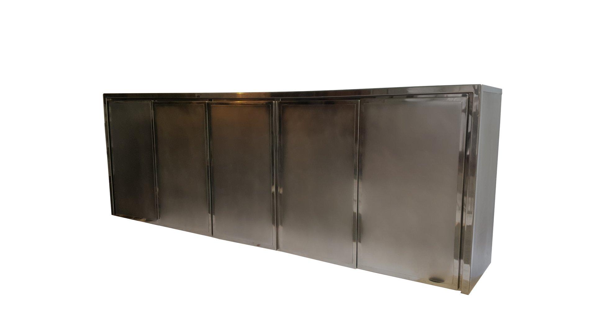 Credenza Con Vidrio : Credenza de cromo y acero cepillado belgochrom 1985 en venta