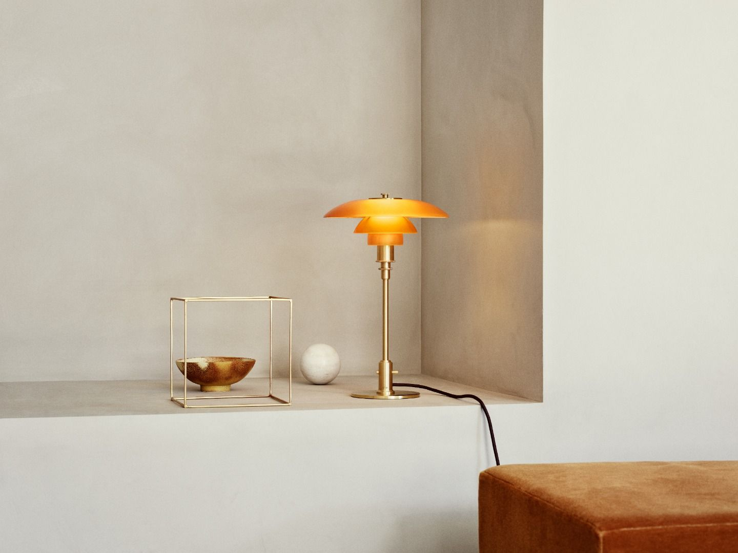 PH 3/2 Amber Colored Glass Table Lamp by Poul Henningsen for Louis Pou...