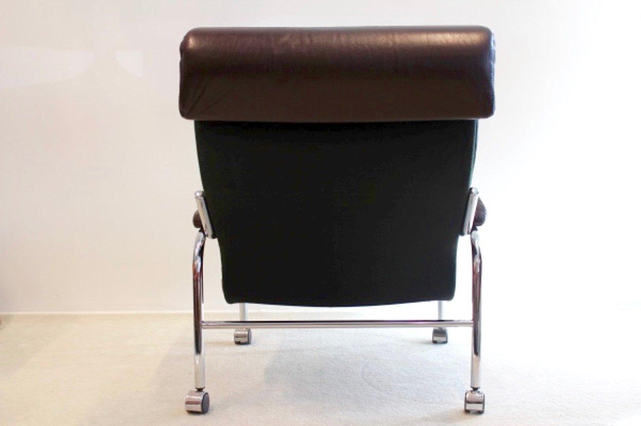 vintage bore leder sessel mit fu hocker von noboru nakamura f r ikea 1970er bei pamono kaufen. Black Bedroom Furniture Sets. Home Design Ideas