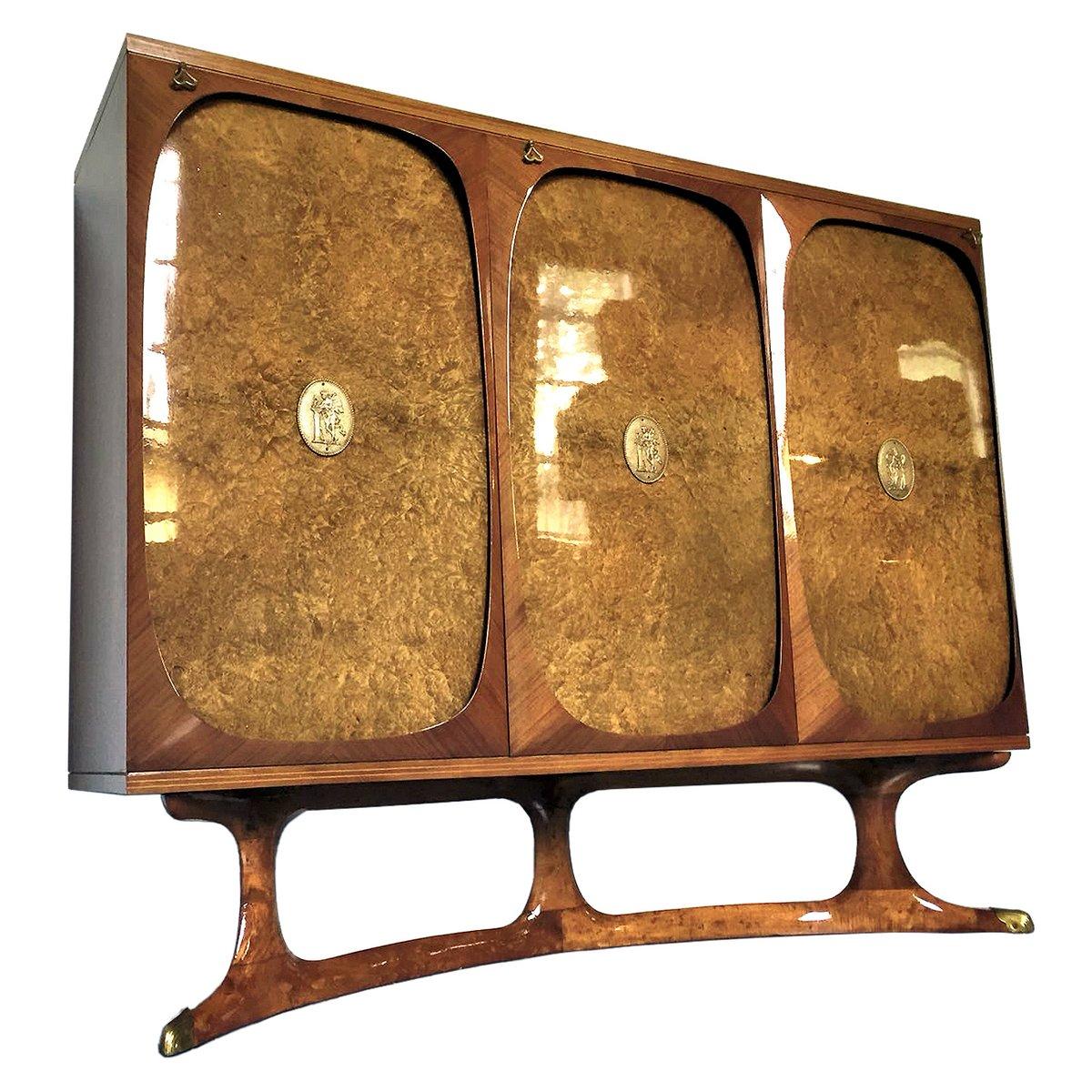 Italienisches Palisander Highboard mit 3 Türen aus Buchen Wurzelholz v...