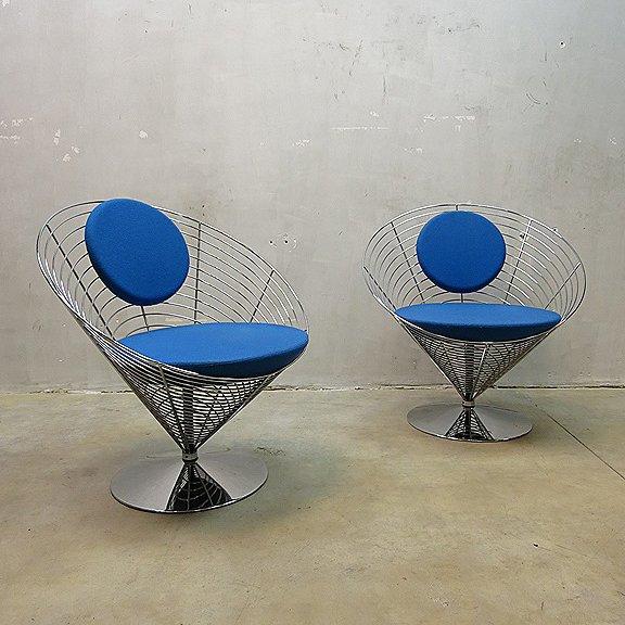 wire cone chair von verner panton f r fritz hansen bei pamono kaufen. Black Bedroom Furniture Sets. Home Design Ideas