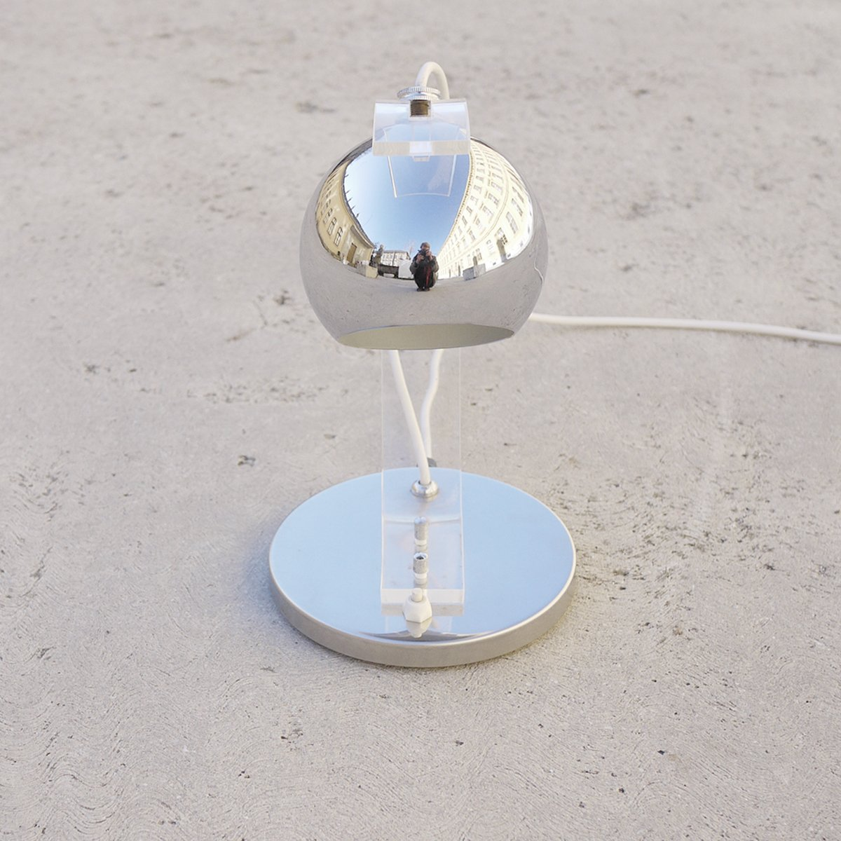 Chrome Hemispherical Table Lamp By Harvey Guzzini 1970s