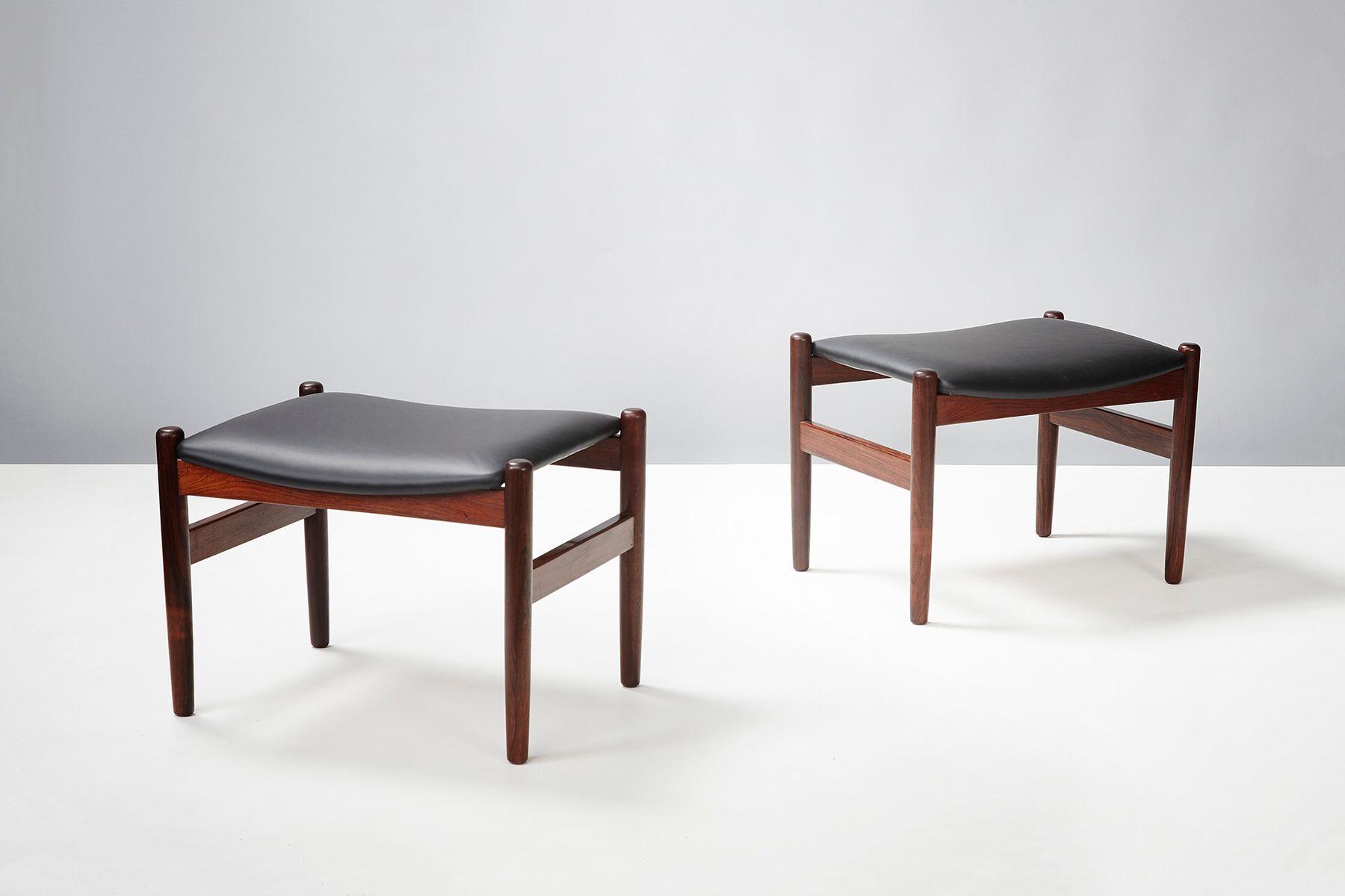 d nische vintage hocker aus palisander leder 2er set bei pamono kaufen. Black Bedroom Furniture Sets. Home Design Ideas