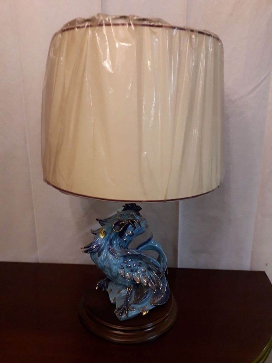 Vintage Tischlampe mit Keramik Hahn