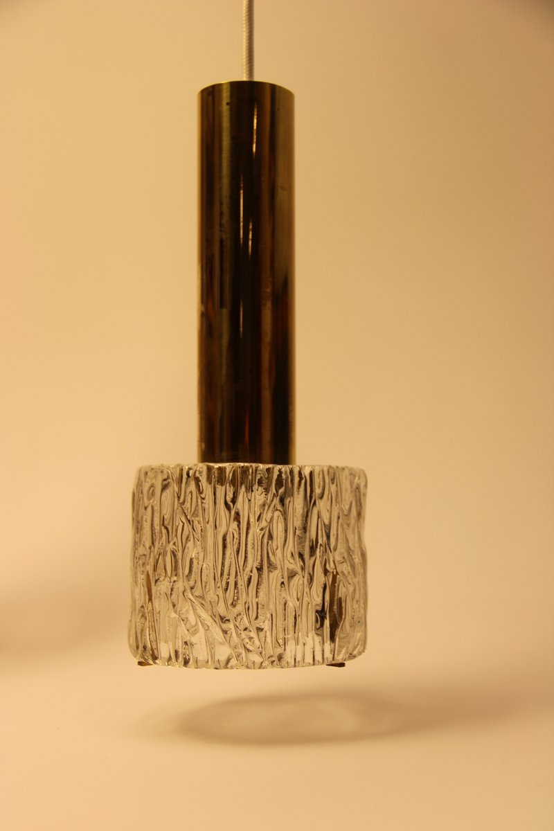Dänische Vintage Messing & Glass Pendelleuchte von Wilhelm Lauritzen f...