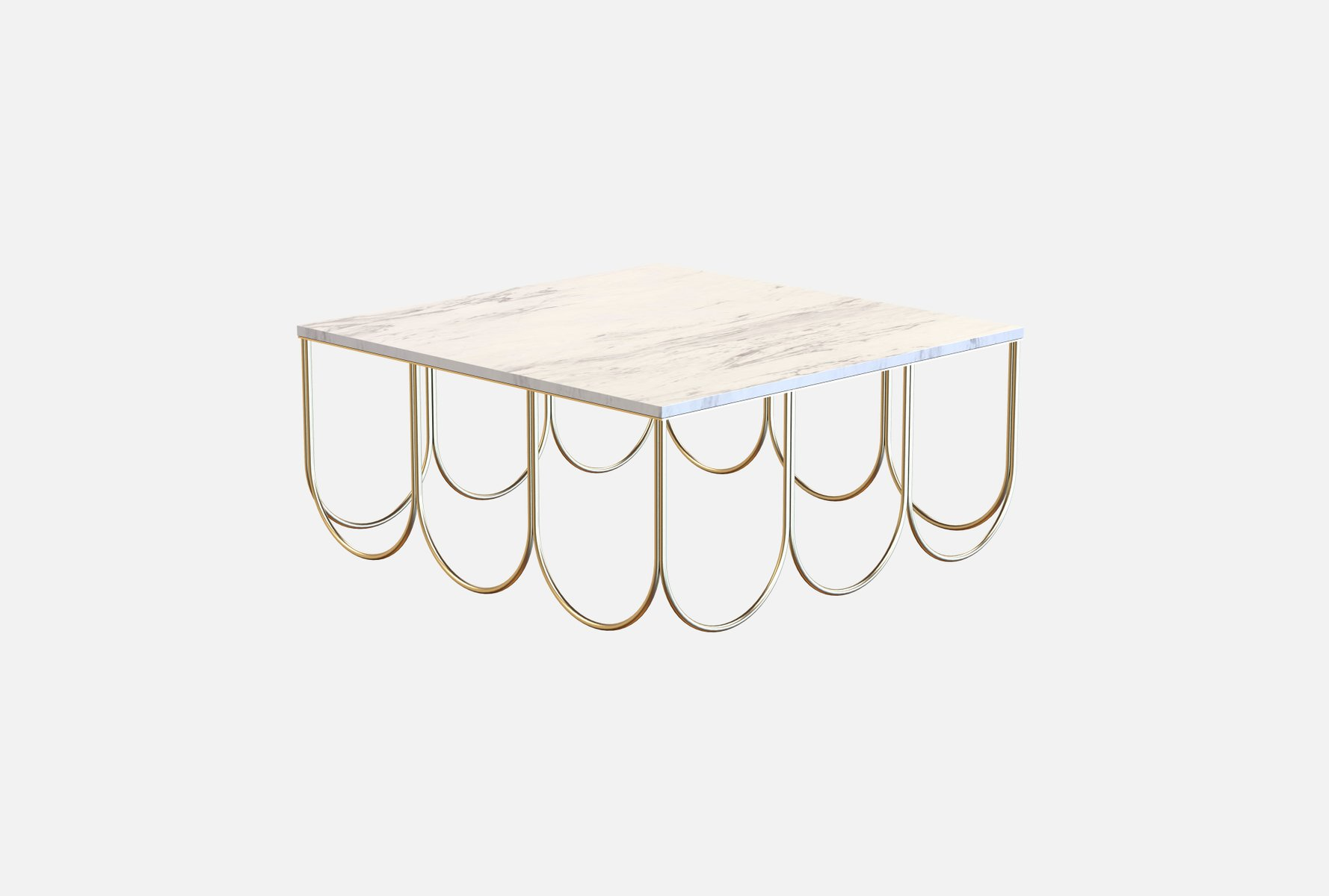 OTTO Coffee Table In BrassPlated Steel White Carrara Marble By - White carrara marble coffee table