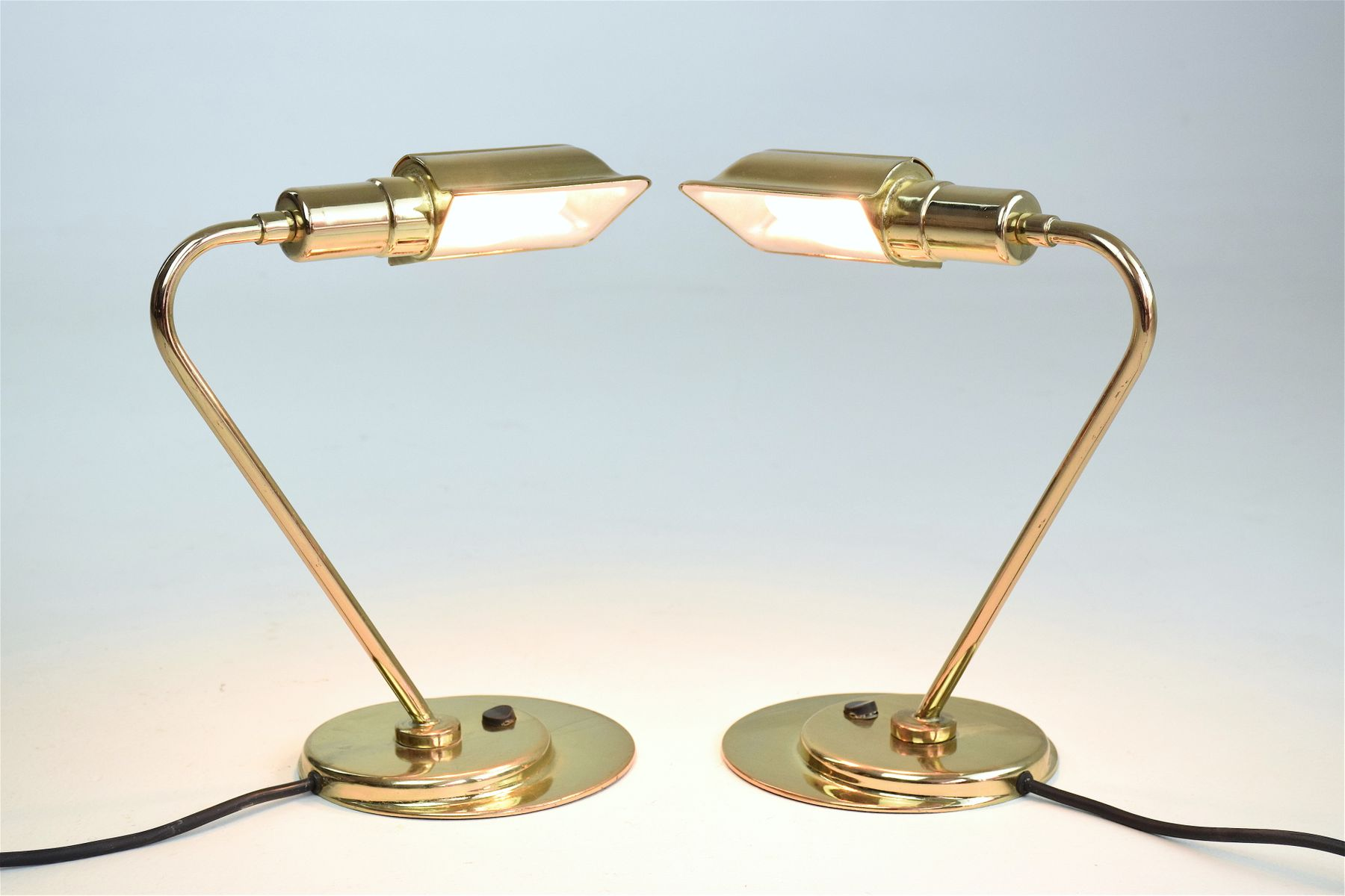 Mid-Century French Brass Desk Lamps, 1960s, Set of 2