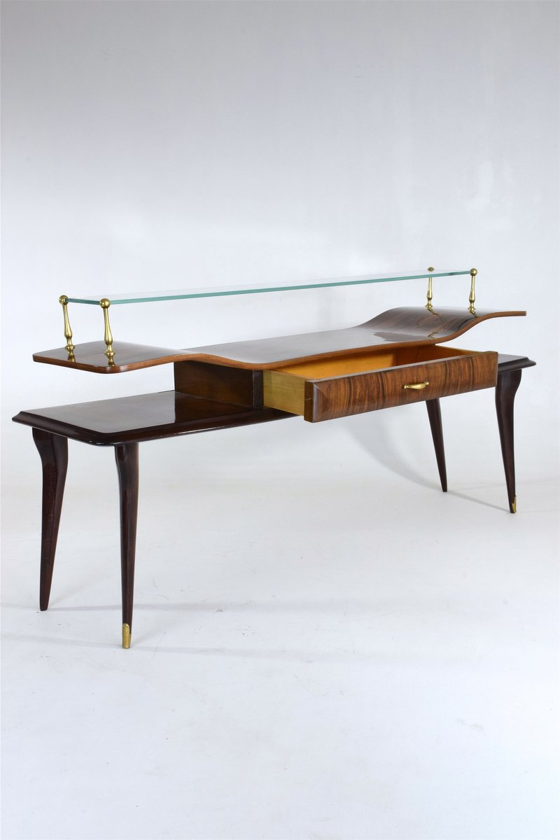 Table console en palissandre verre italie 1950s en - Table console en verre ...