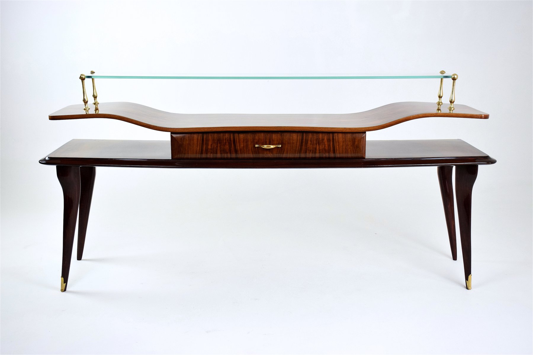Italian Mid Century Rosewood Glass Console Table 1950s For Sale