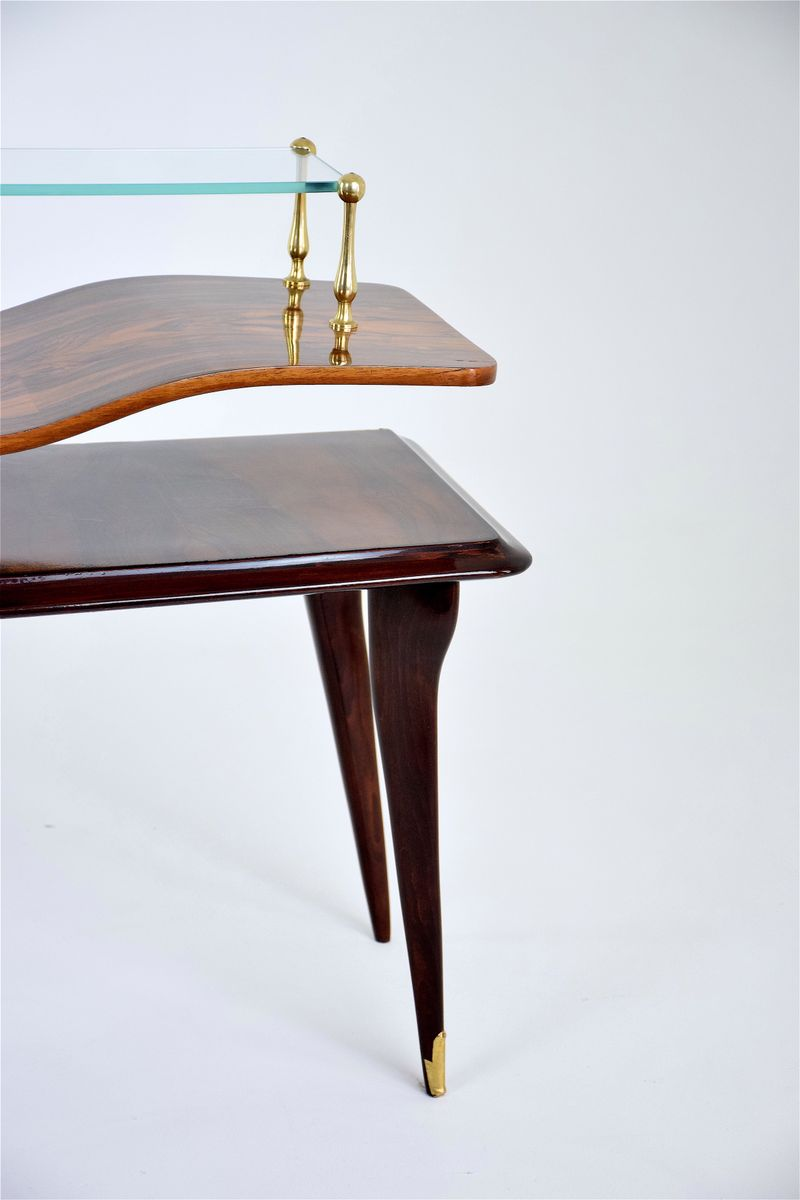 table console en palissandre verre italie 1950s en vente sur pamono. Black Bedroom Furniture Sets. Home Design Ideas