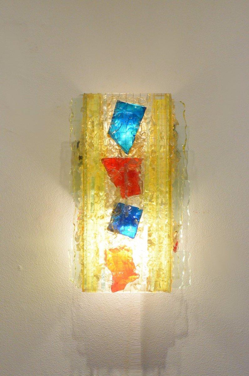 niederl ndische bunte mid century chartres glas wandlampe von raak bei pamono kaufen. Black Bedroom Furniture Sets. Home Design Ideas