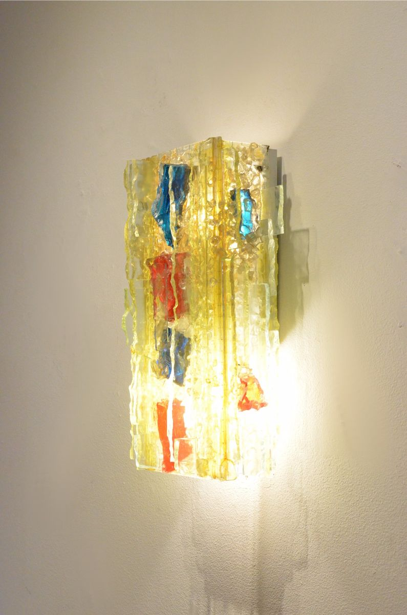 Mid-Century Dutch Chartres Multicolored Glass Wall Sconce from Raak ...
