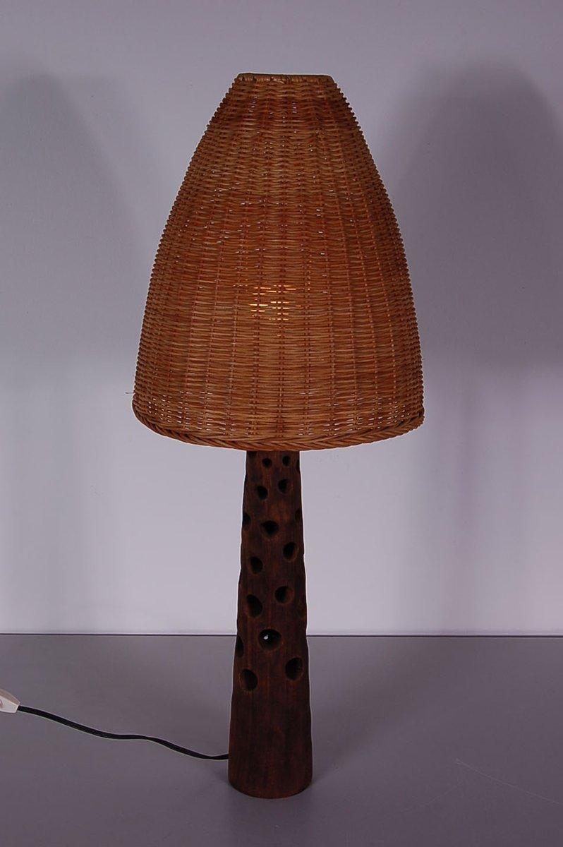 Vintage Hölzerne Tischlampe mit Weiden Lampenschirm, 1960er