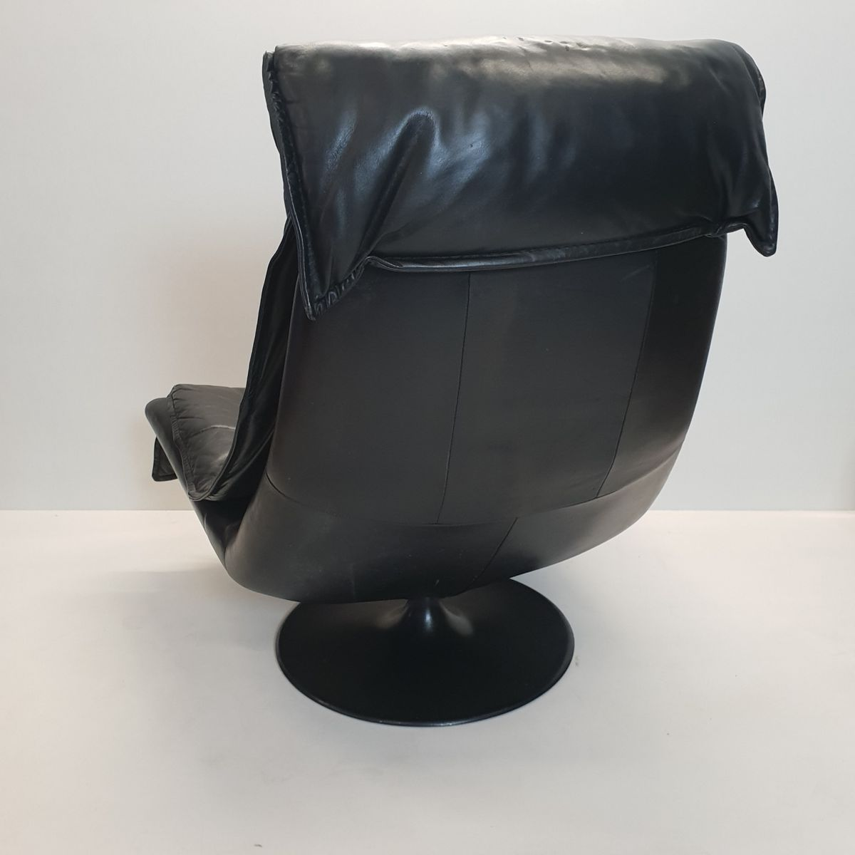 Large Vintage Black Leather Swivel Lounge Chair With