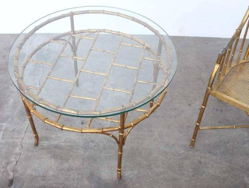 chaise d 39 appoint et table vintage en faux bambou france en vente sur pamono. Black Bedroom Furniture Sets. Home Design Ideas