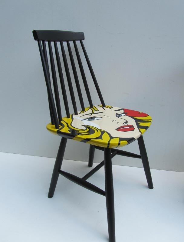Sedie pop art dipinte a mano di pastoe anni 39 60 set di 3 for Sedie decorate a mano