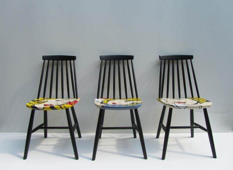 Sedie Dipinte A Mano : Sedie pop art dipinte a mano di pastoe anni 60 set di 3 in