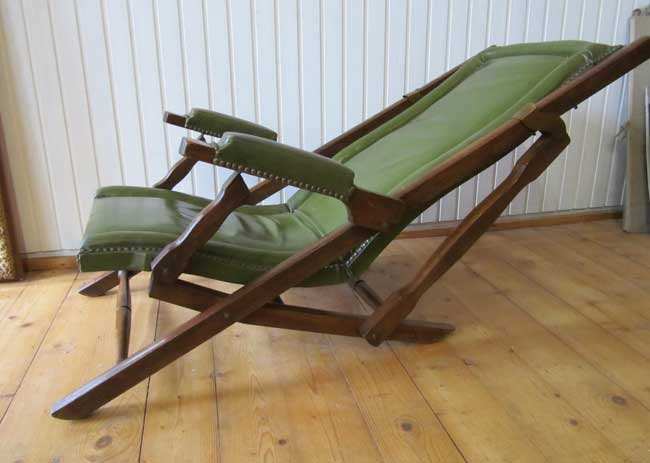 Military Leather Folding Lounge Chair, 1900