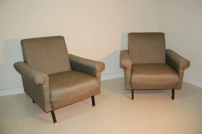 Italienische Mid Century Sessel in Beige, 1950er, 2er Set