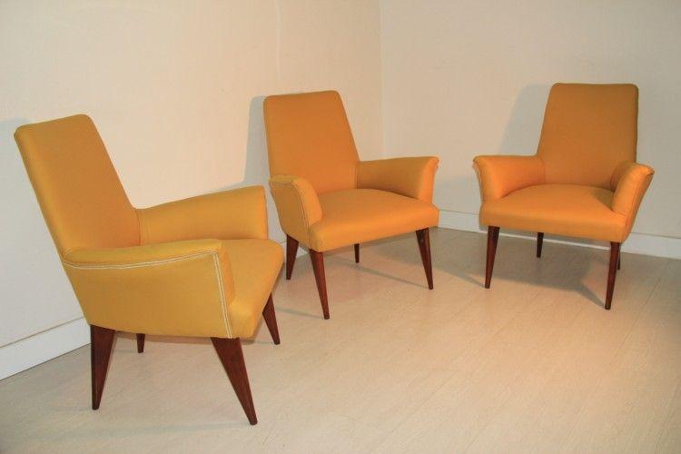 Mid-Century Gelber Sessel aus Italien, 1950er