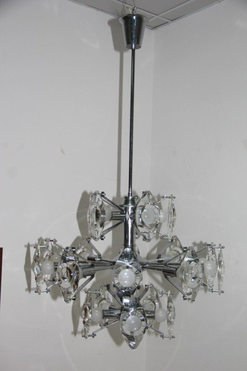 Stahl Glas Hängelampe von Oscar Torlasco